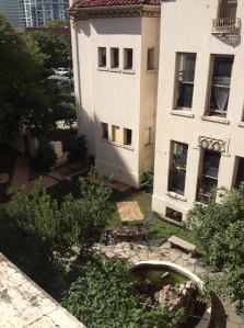 View of the courtyard from the balcony outside my room.