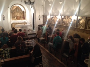 The chapel is packed for mass with Denver and Colorado Springs missionaries, and visiting Benedictine College students.