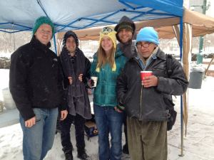 Serving lunch to the homeless every week, rain, shine, or snow.