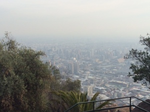 The view from the top of Cerro San Cristóbal. Too bad the smog is so thick that you can't see very far.