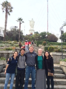 Our group with the statue of Mary at the top of Cerro San Cristóbal.